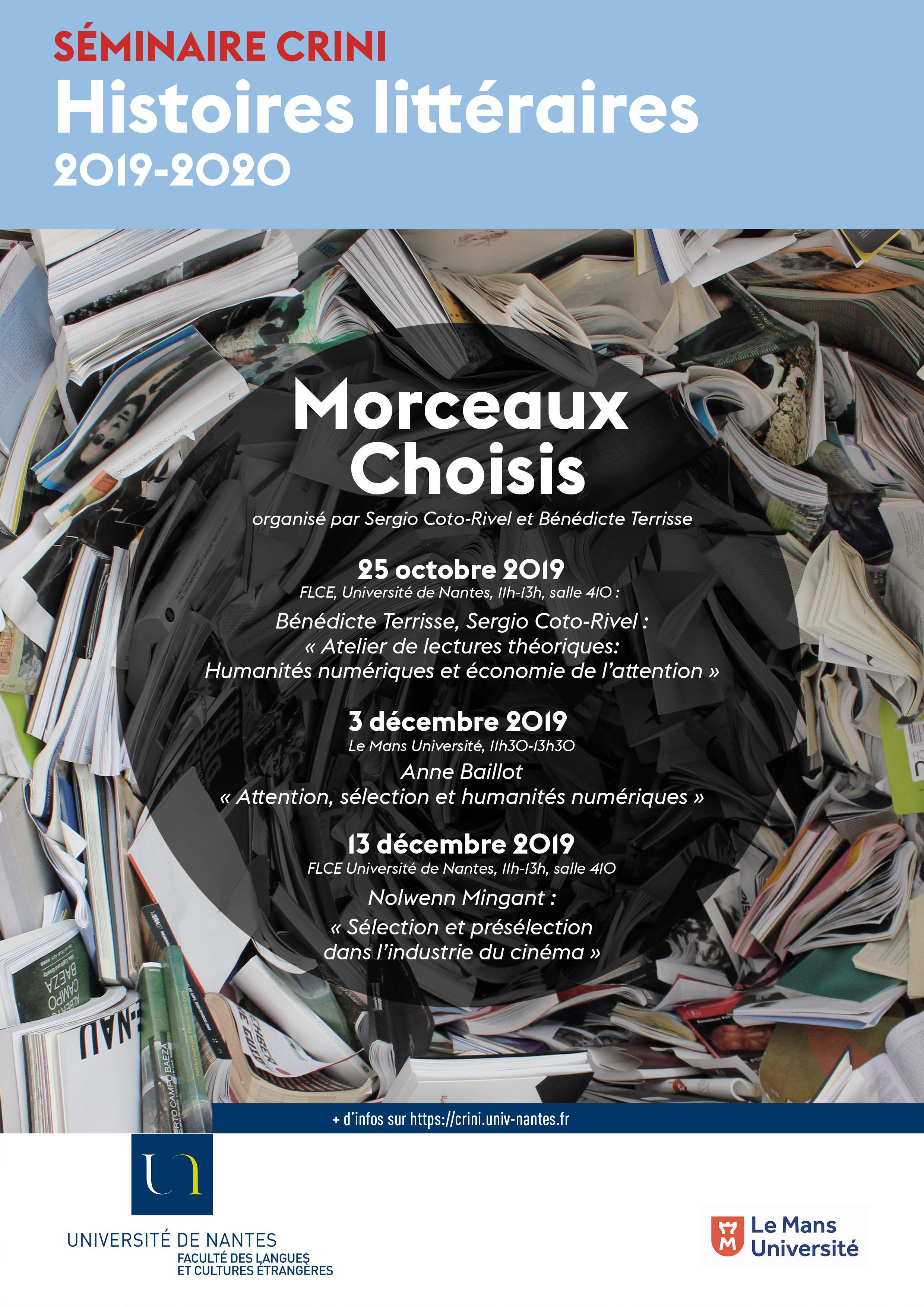 séminaire crini morceaux choisis histoires littéraires flce