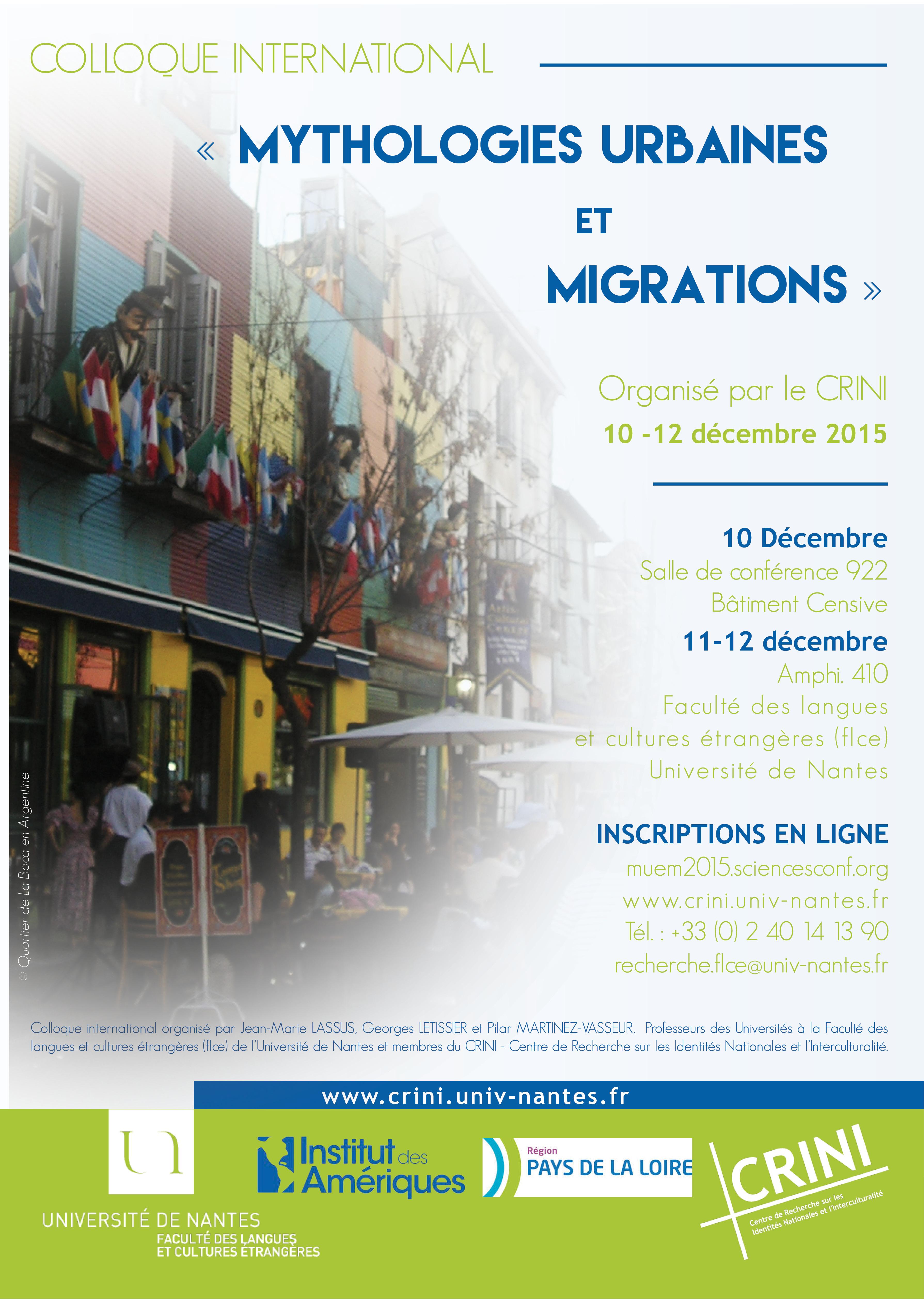 "Programme colloque international ""Mythologies urbaines et migrations"""
