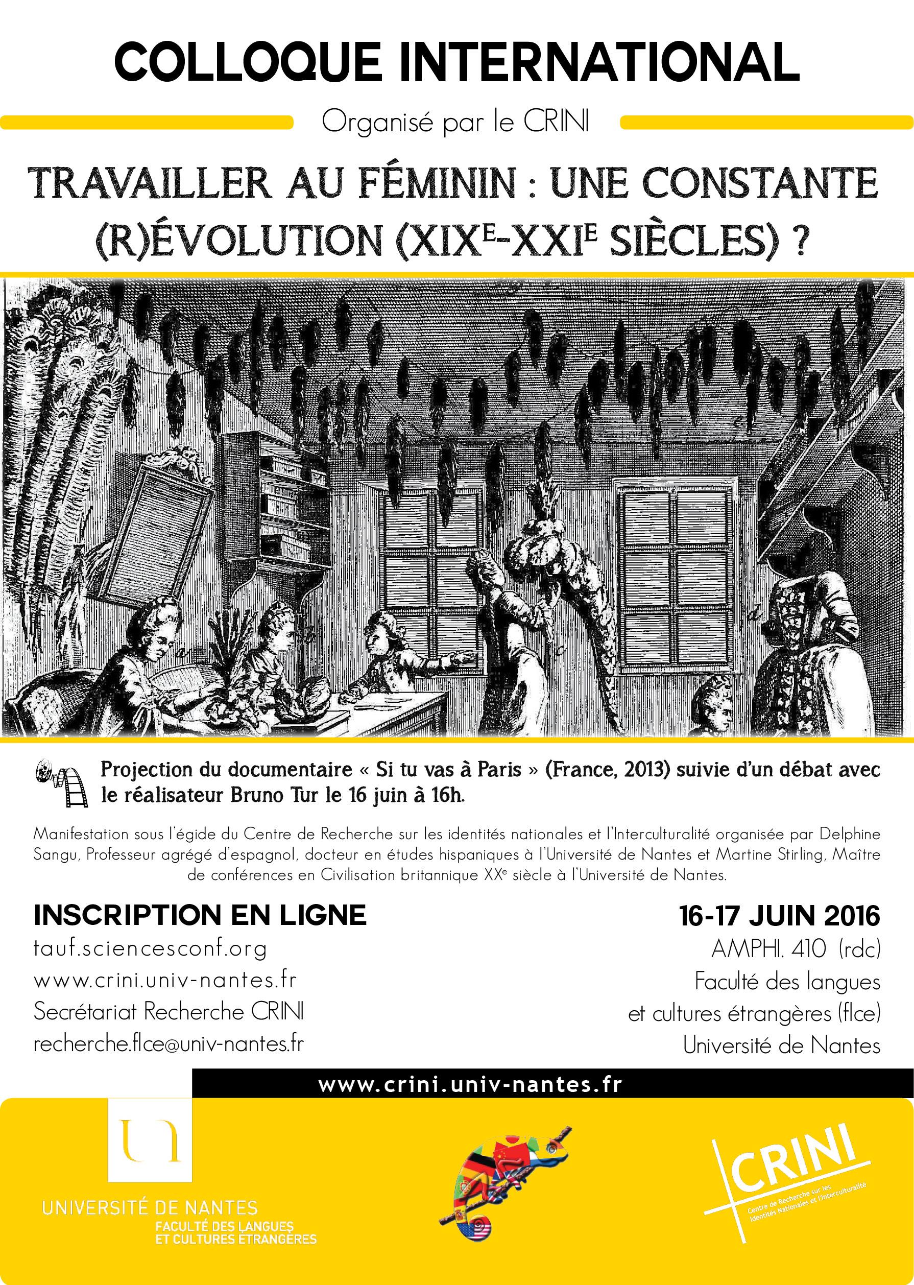 Affiche colloque Travailler au féminin - 16-17 juin 2016