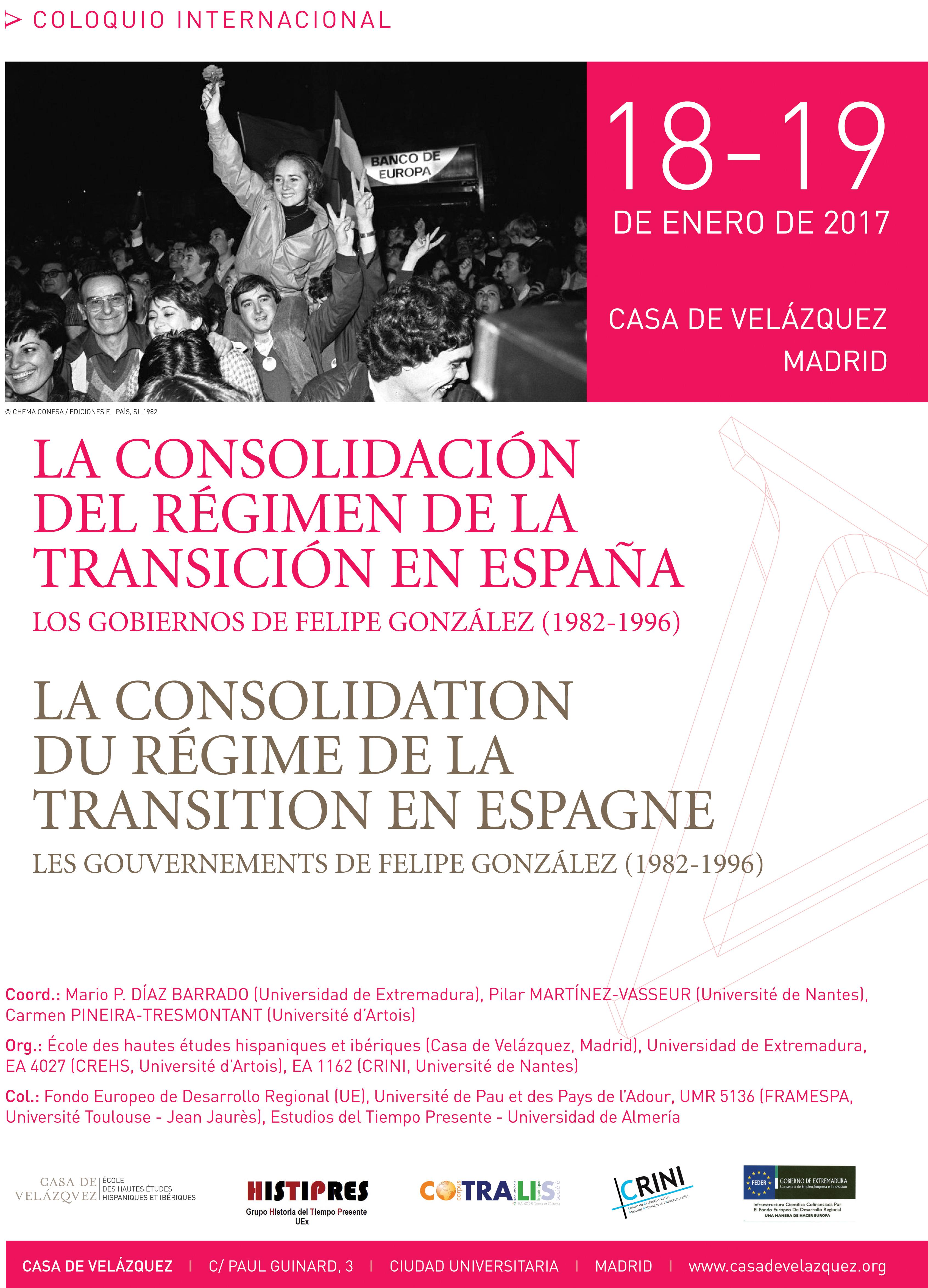 Colloque la consolidation du régime de la Transition en Espagne